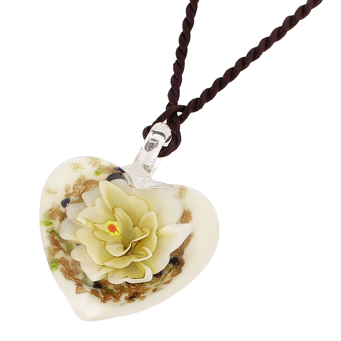 Lady Glass Presses Flower Inside Style Pendant Necklace Light Yellow White