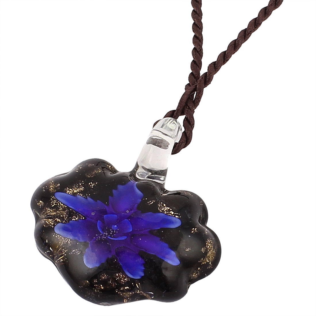 Glass Bundle Flower Inlaid Pendant Necklace Purple Black 17""