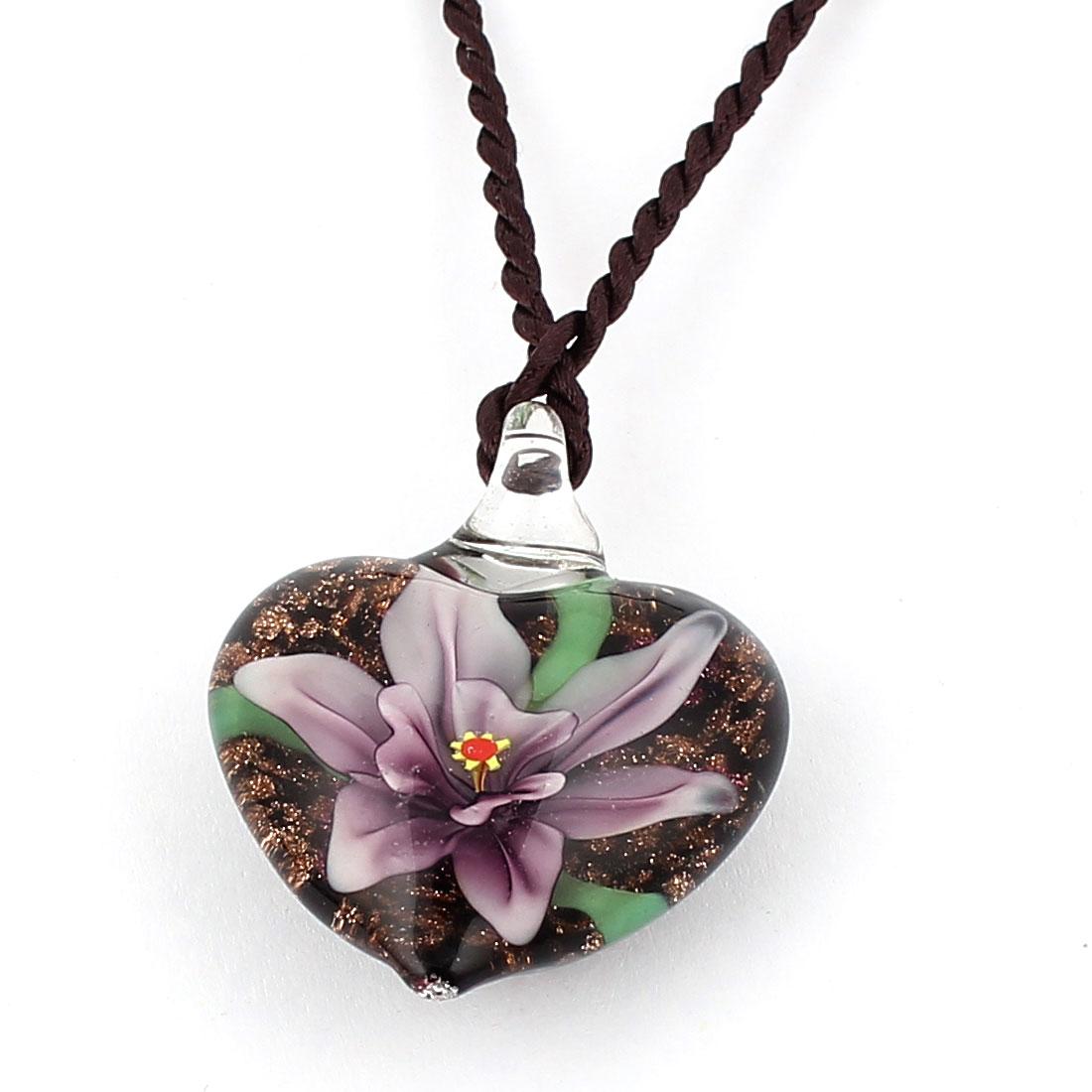 Nylon String Heart Style Glass Pressed Flower Pendant Necklace Purple Black