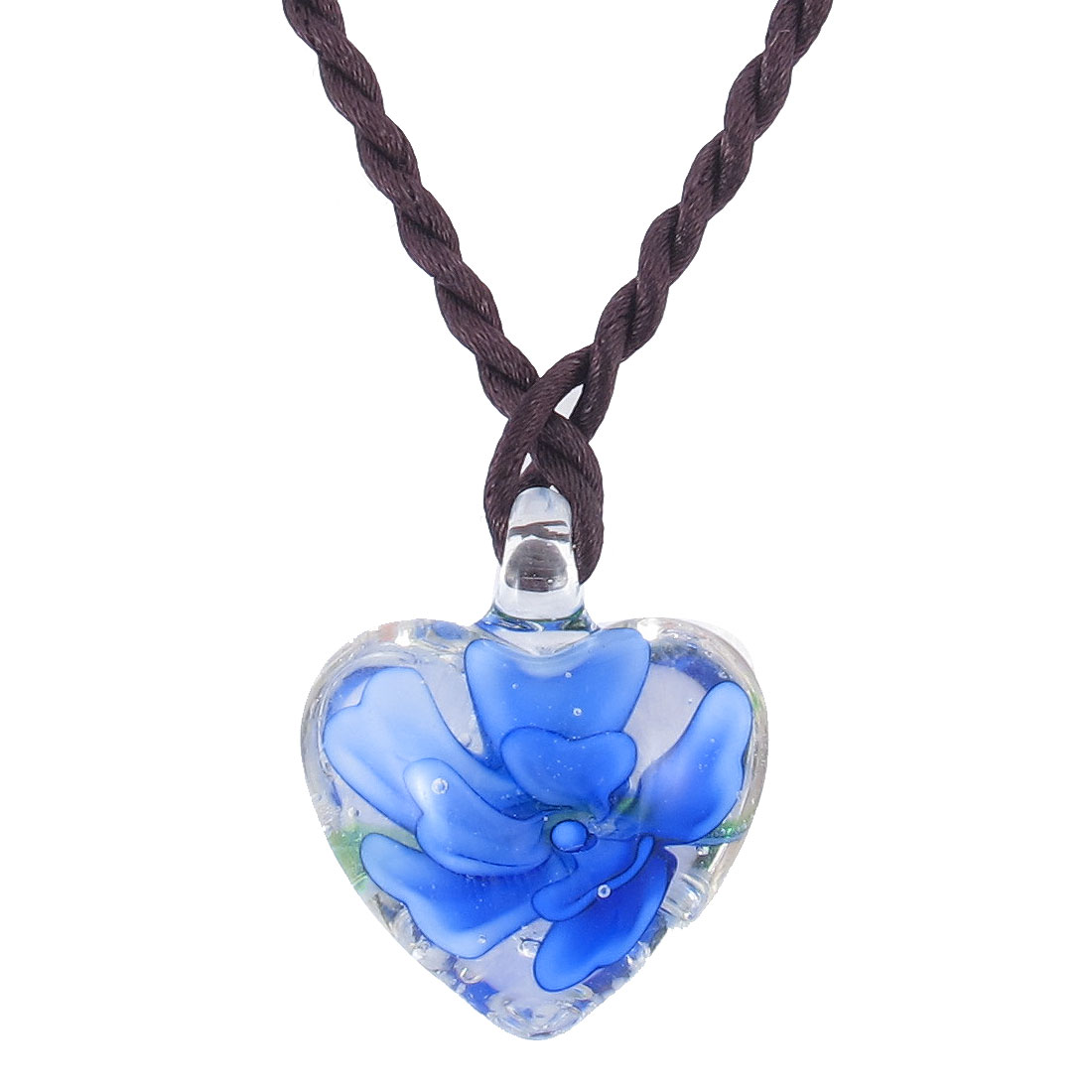 Nylon Knitted Wire Blossom Flower Heart Glass Pendant Necklace Blue