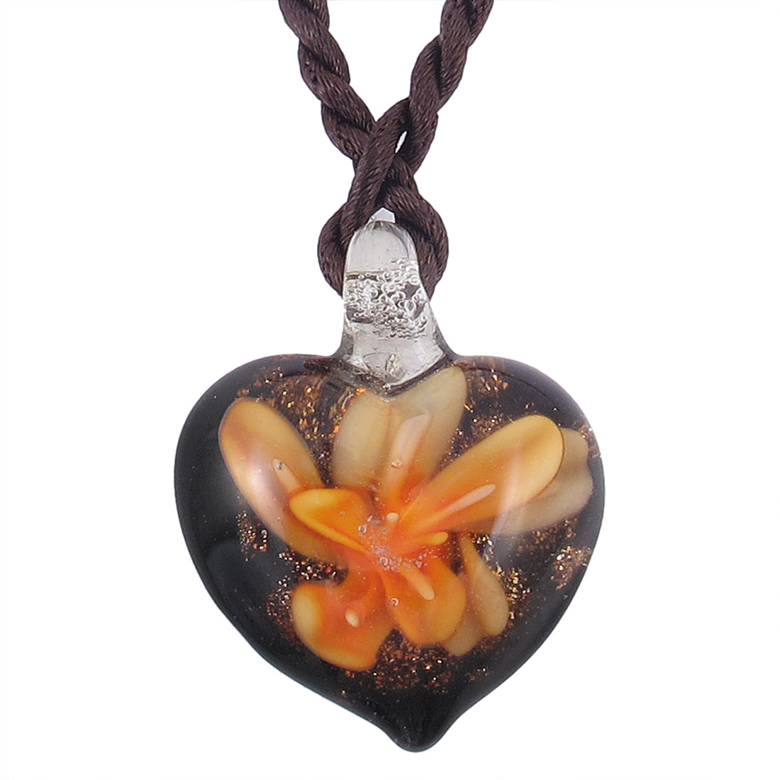 Nylon Braided Rope 3D Flower Heart Art Glass Pendant Necklace Orange