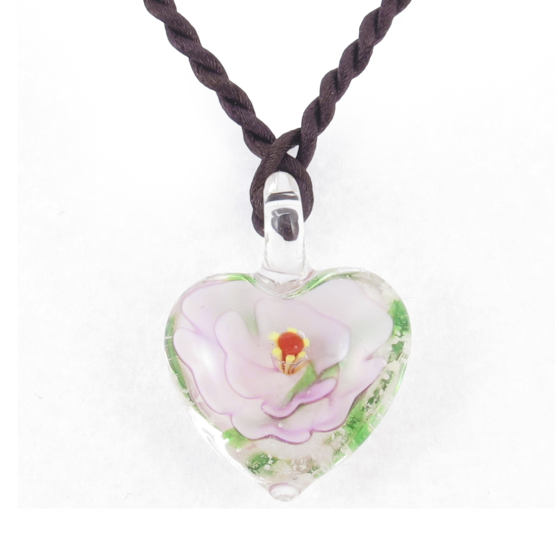 Light Pink 3D Flower Leave Inside Heart Shape Glass Pendant Necklace