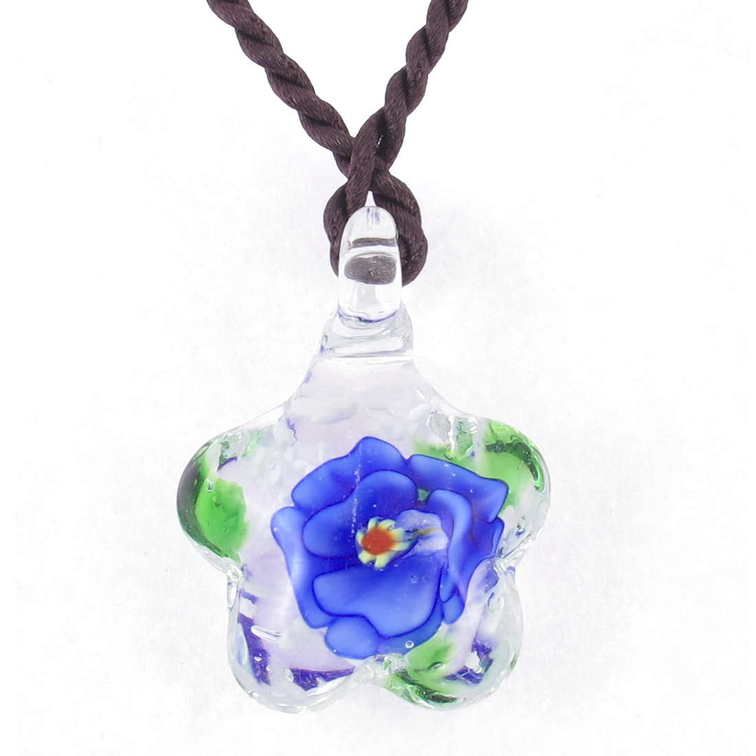 Lady Braided Rope Blue Flower Grass Inside Star Shaped Glass Necklace