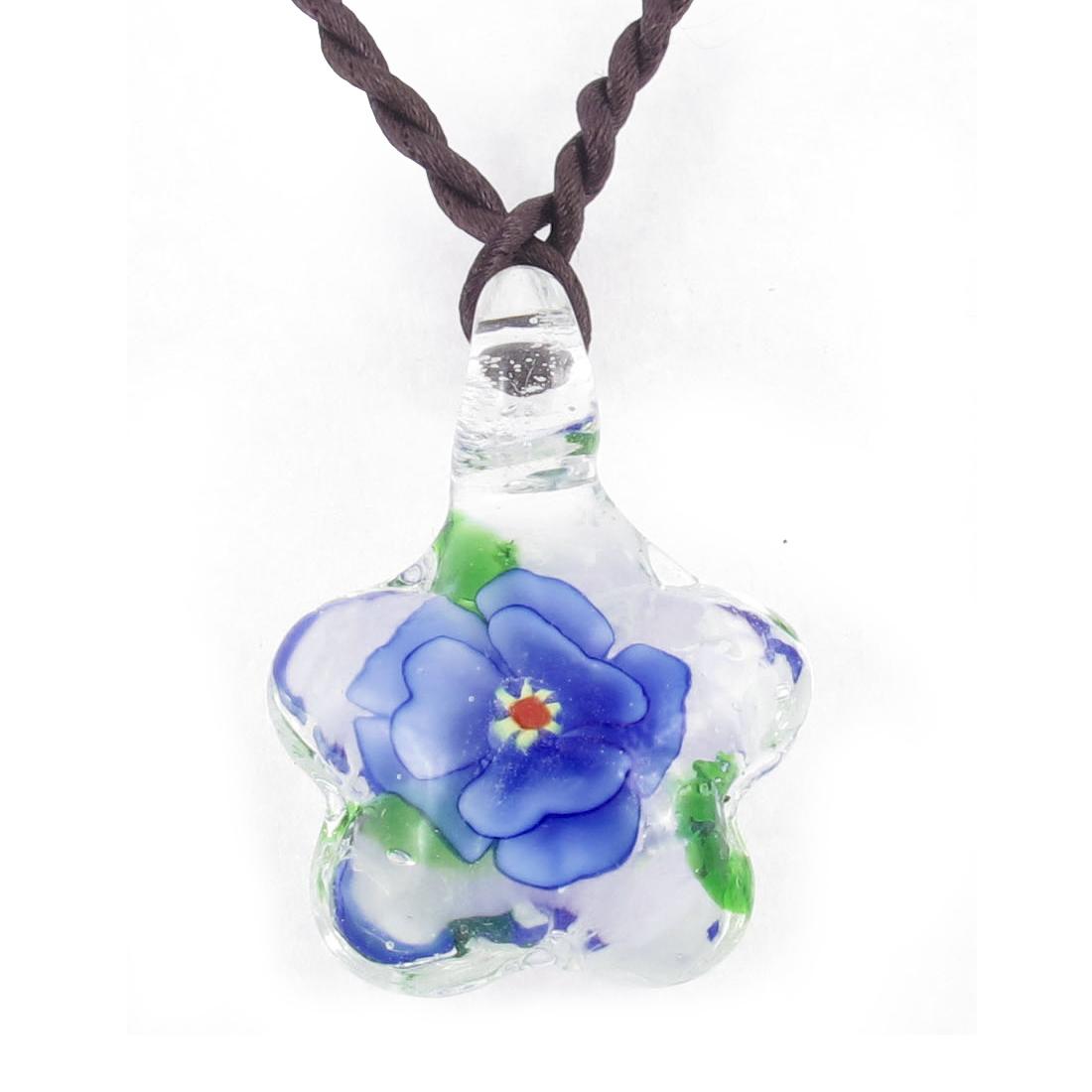 Braided Rope Mini Flower Inside Pendant Star Shape Glass Necklace Light Blue
