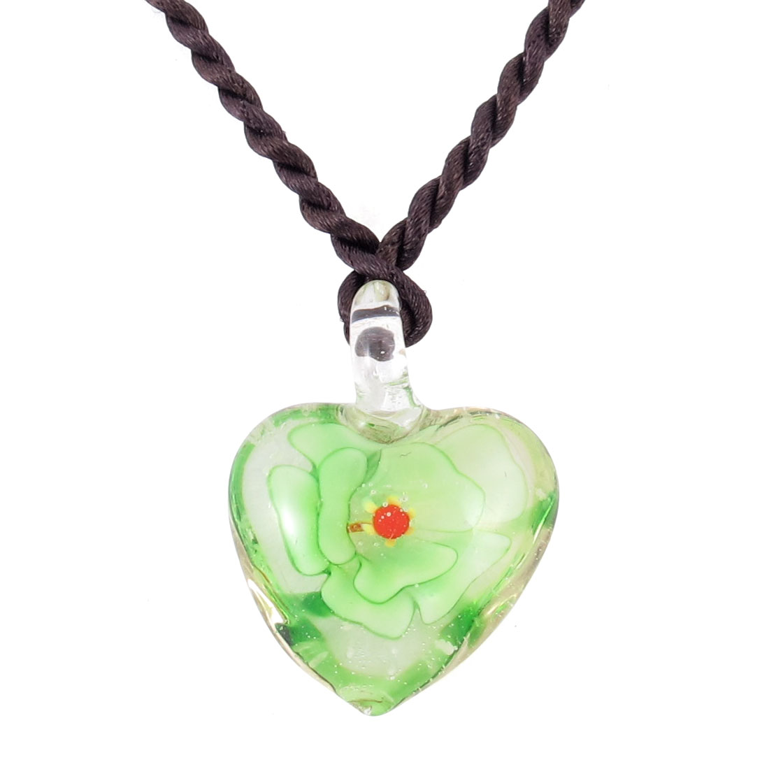 Ladies Knitted String 3D Floral Heart Glass Pendant Necklace Decoration Green