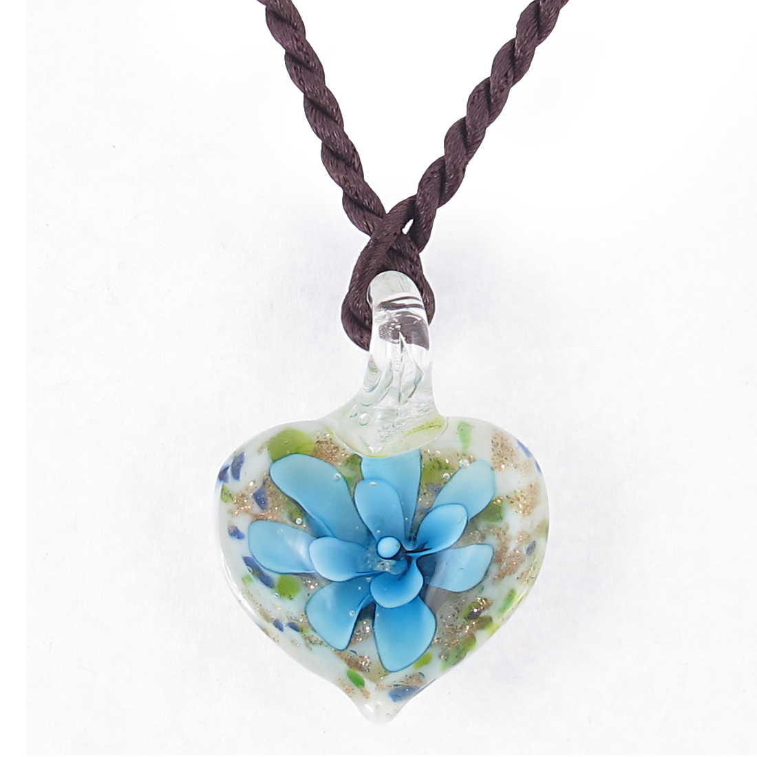 Lady Knot Closure Rope Floral Heart Glass Pendant Necklace Adornment Light Bue