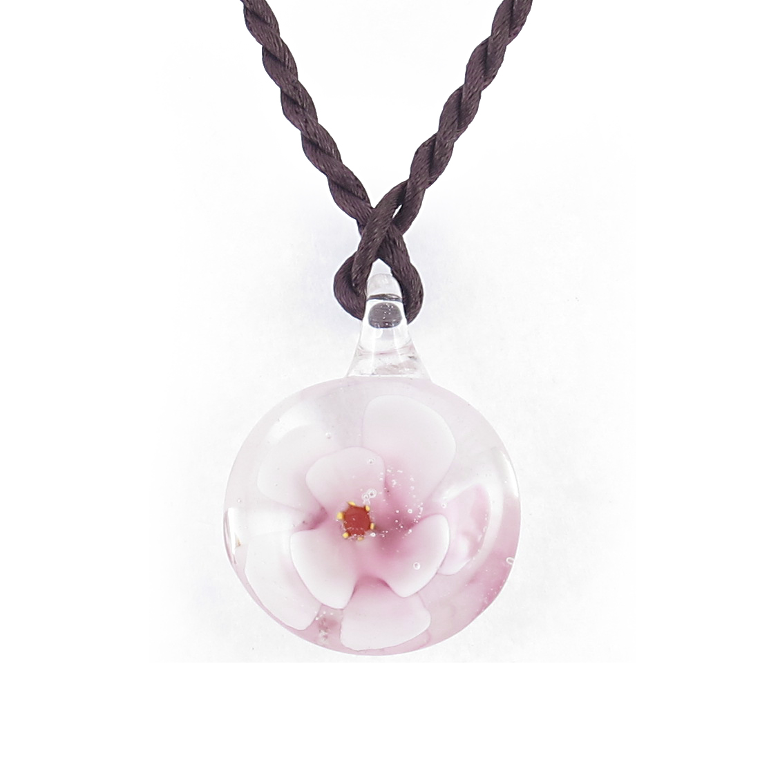Knot Closure Rope 3D Bloom Flower Design Round Glass Necklace Light Pink