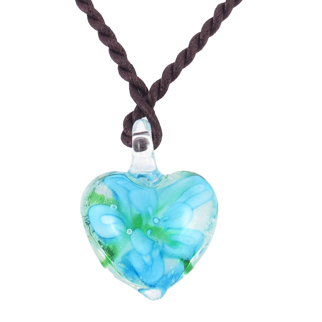 Braided Rope 3D Flower Inside Heart Style Glass Pendant Necklace Light Blue