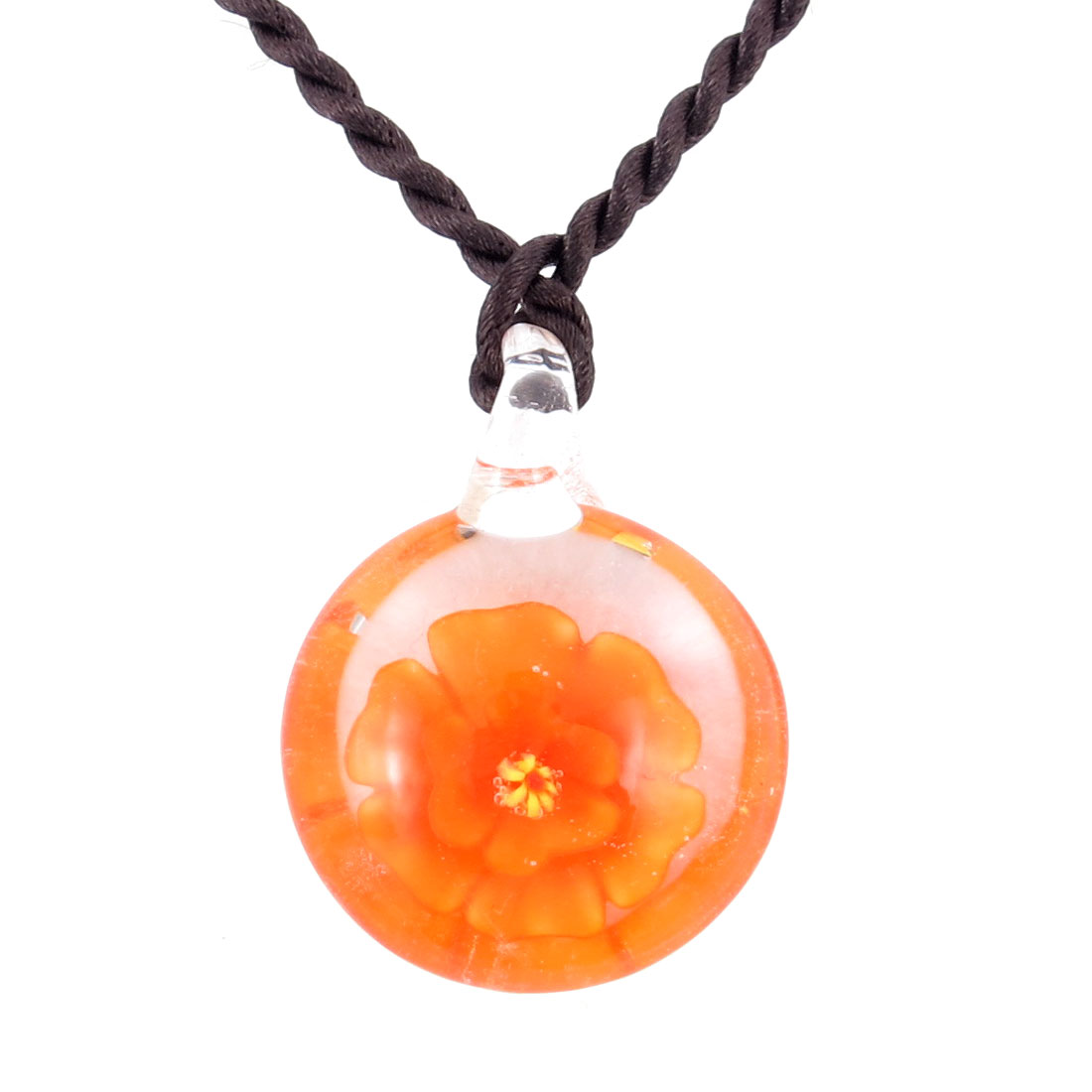 Lady Braided Rope 3D Flower Inside Round Glass Necklace Adornment Orange