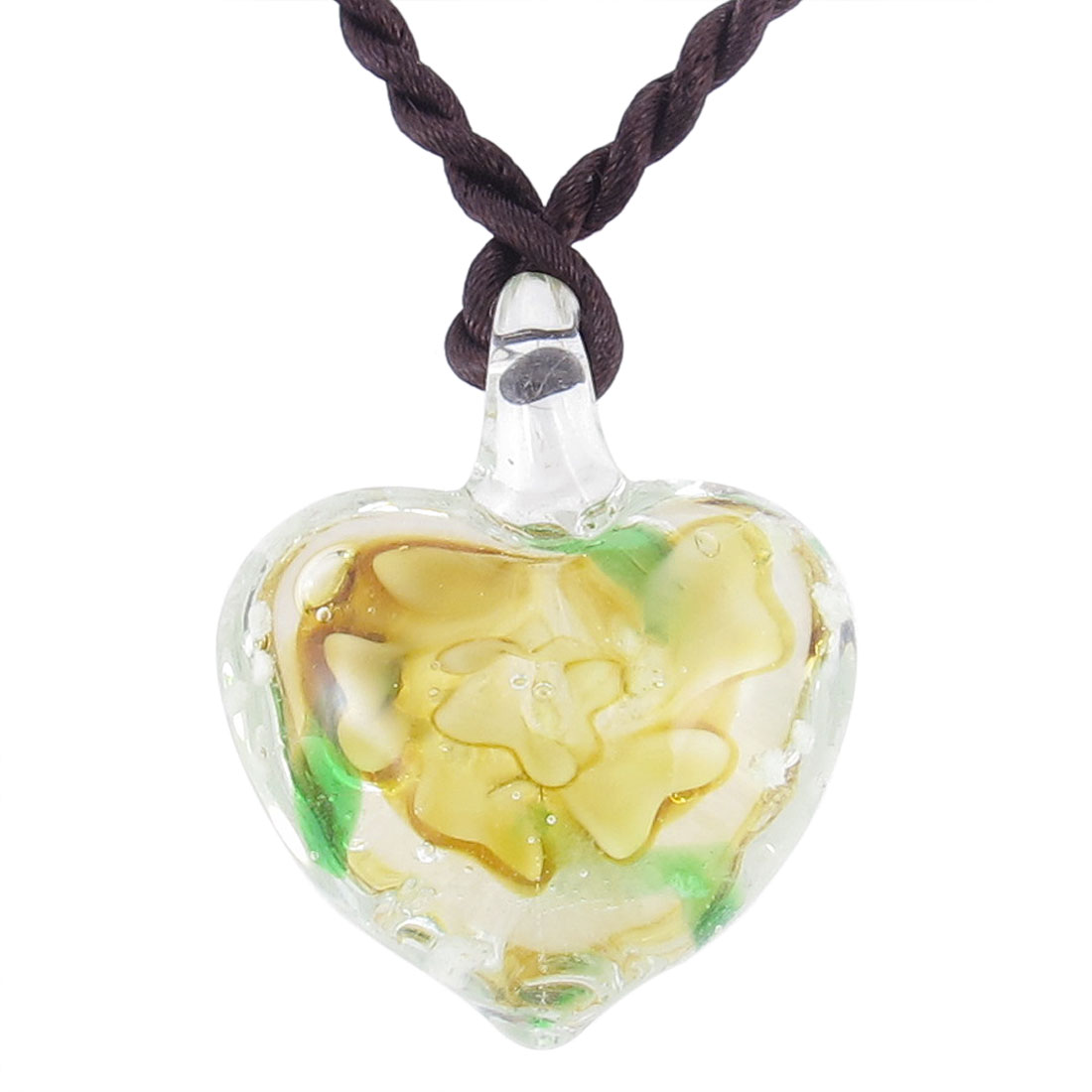 Ladies Knitted Rope 3D Mini Flower Inlaid Heart Style Glass Pendant Necklace Gift