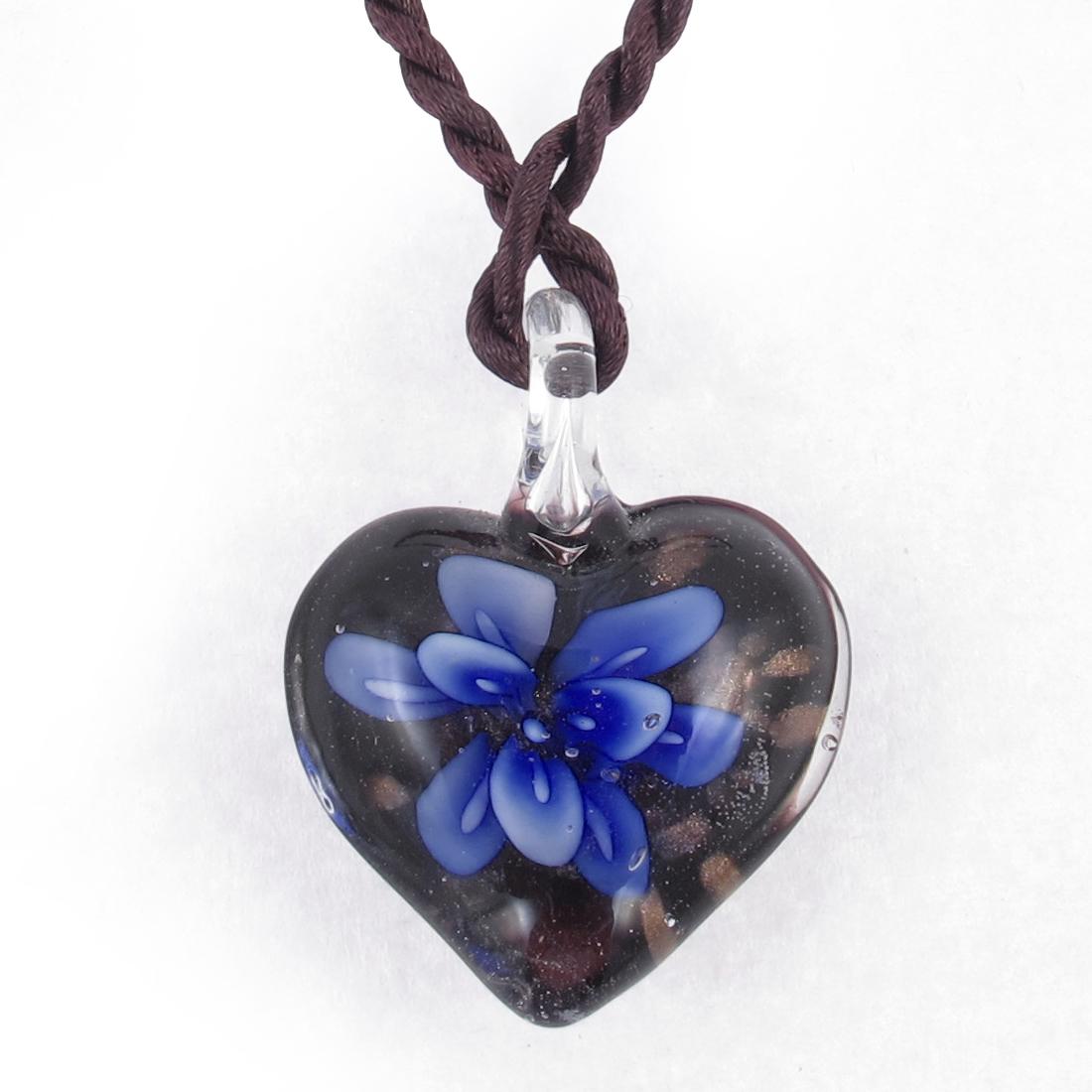 Blue 3D Mini Flower Inside Heart Design Glass Pendant Necklace