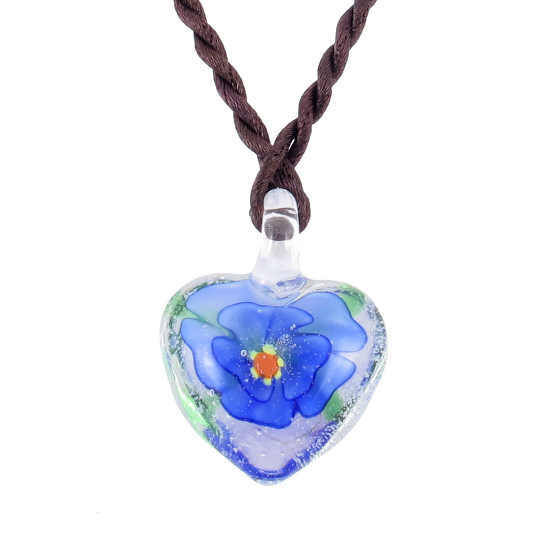 Knot Closure Rope 3D Flower Heart Style Glass Pendant Necklace