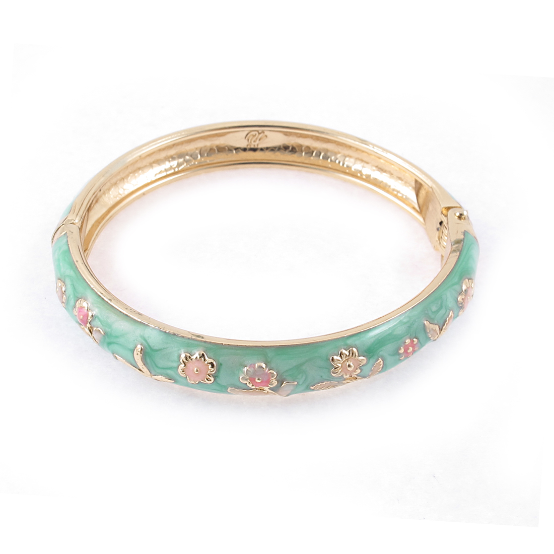 Girl Spring Closure Flower Ornament Round Wrist Bracelet Bangle Green