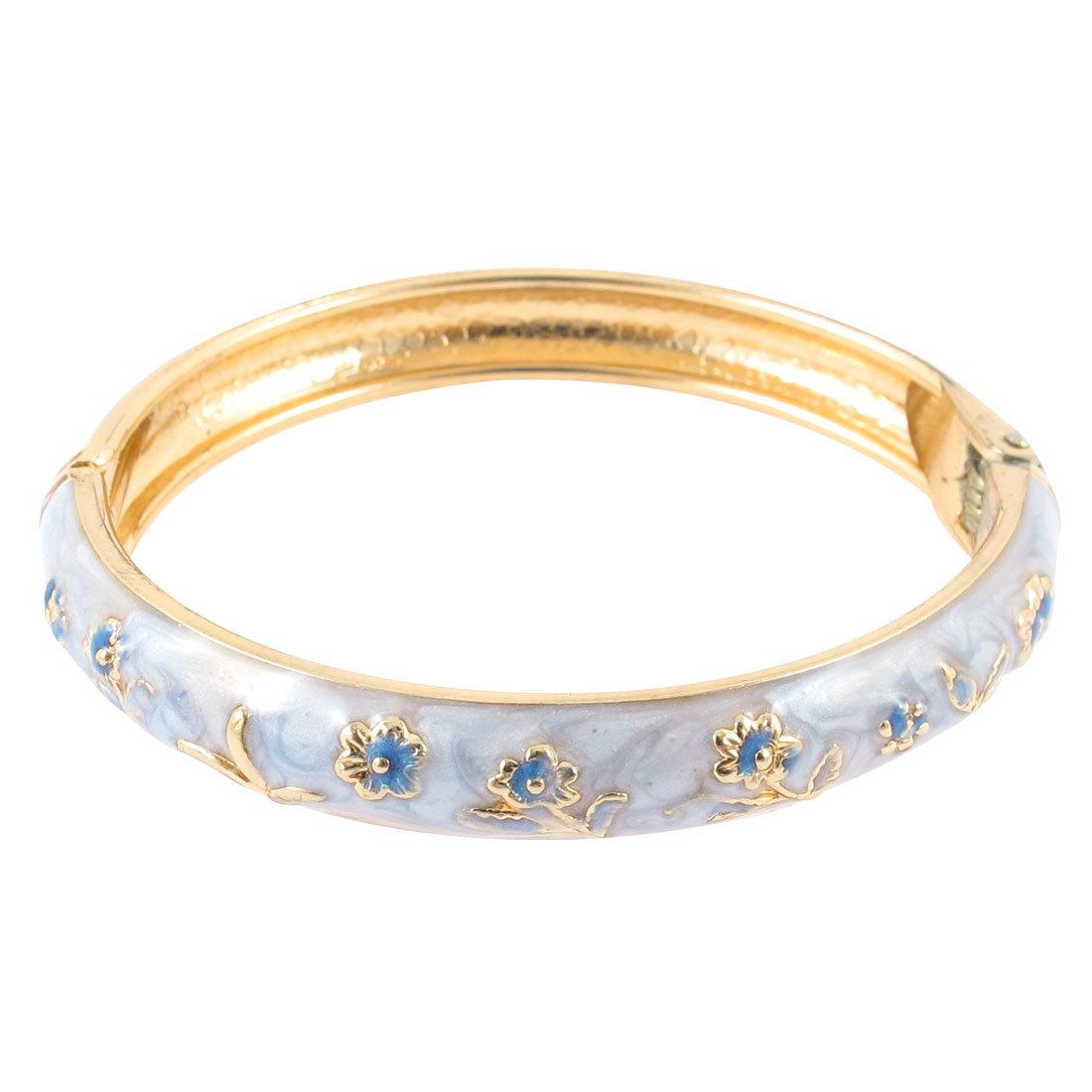 Girl Party Wear Spring Closure Flower Enamel Bracelet Bangle Light Blue
