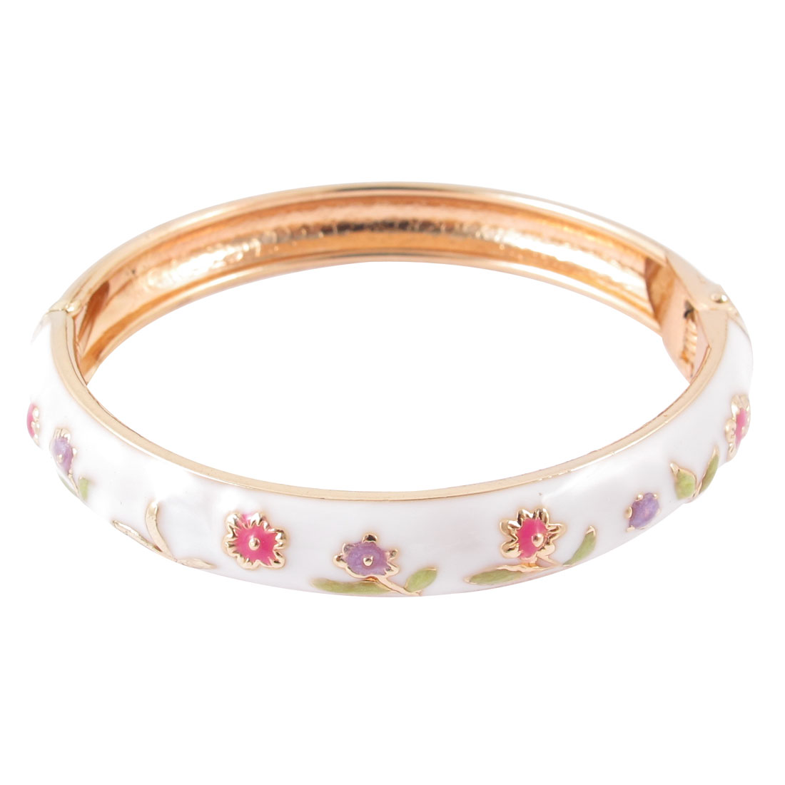 Girl Wrist Wear Spring Closure Flower Enamel Round Bracelet Bangle White