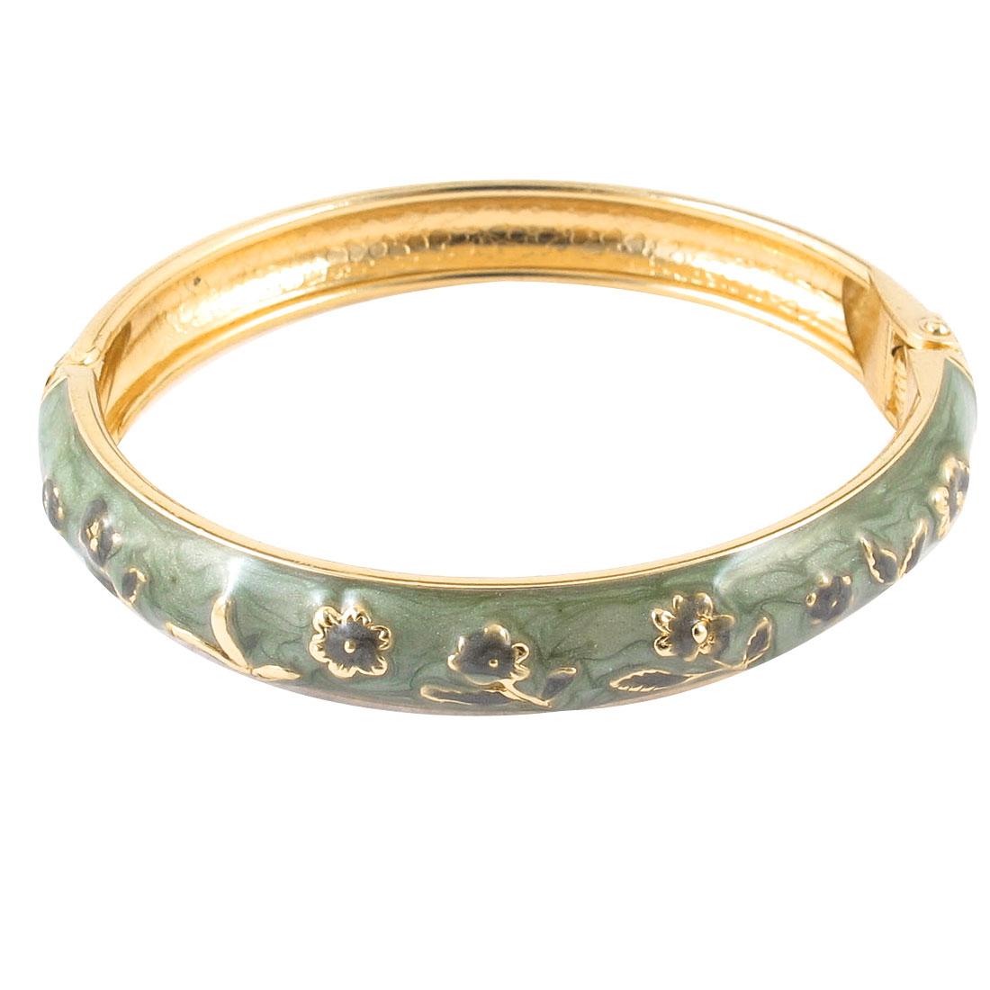 Girl Spring Closure Flower Rim Round Bracelet Bangle Craft Olive Green