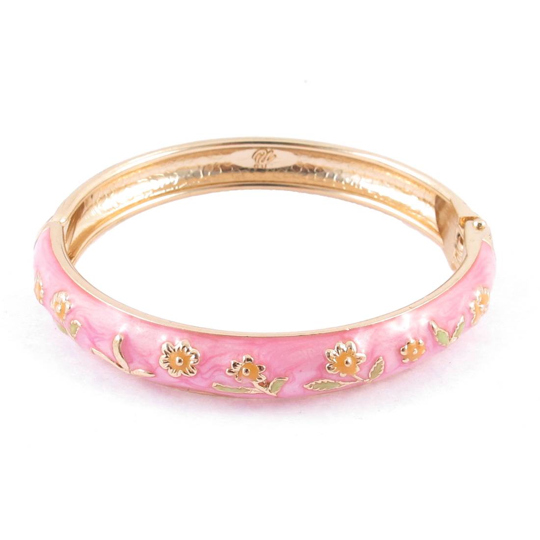 Girls Spring Closure Flower Ornament Round Wrist Bracelet Bangle Pink