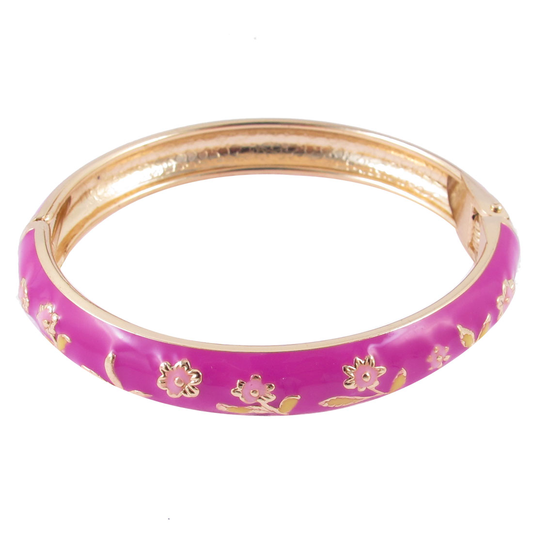 Girl Spring Closure Mini Flower Enamel Round Wrist Bracelet Bangle Fushcia