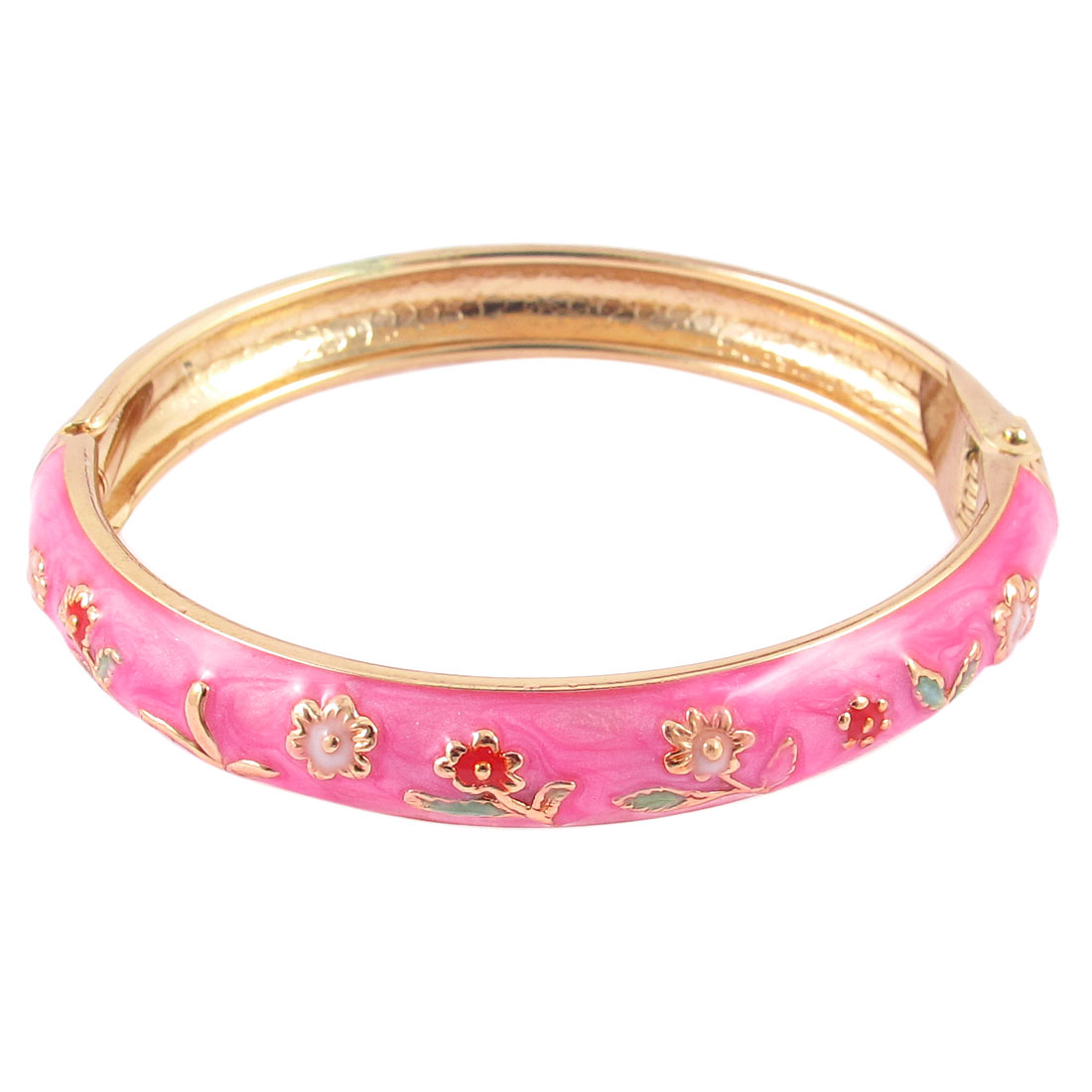 Girl Spring Closure Mini Flower Enamel Bracelet Bangle Party Gift Pink