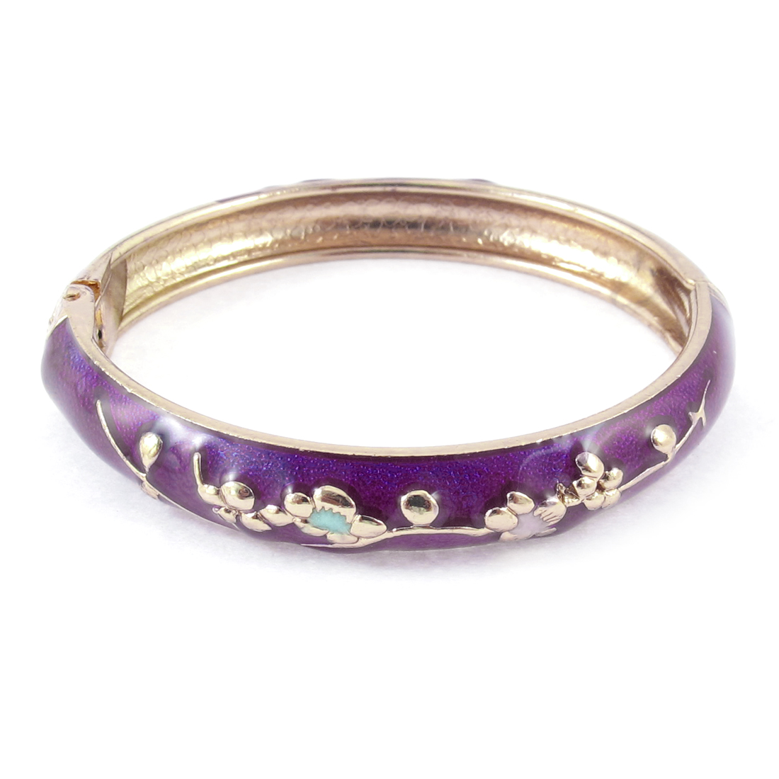 Girl Spring Closure Flowers Enamel Round Wrist Bracelet Bangle Purple