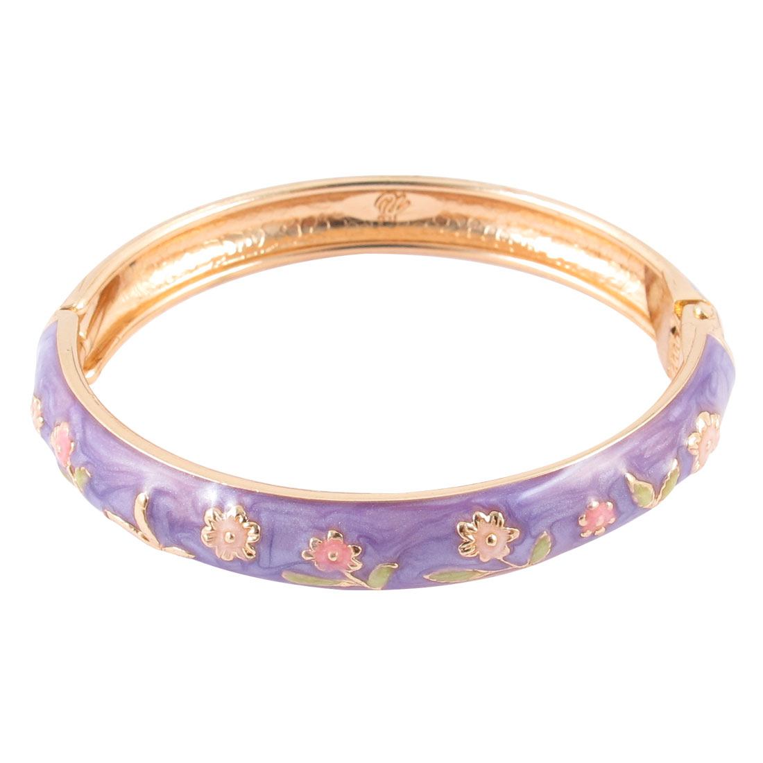 Girl Metal Spring Closure Flower Enamel Round Bracelet Bangle Light Purple