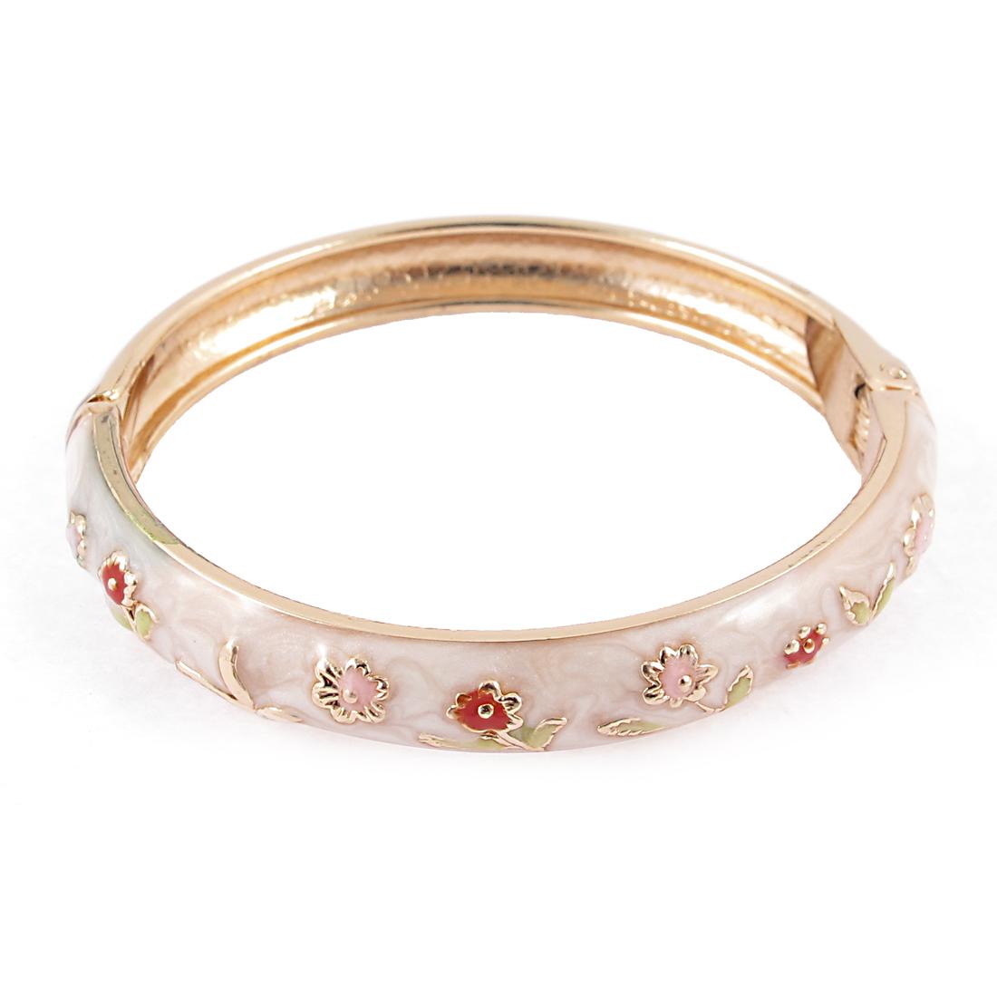 Girl Spring Closure Flower Enamel Round Bracelet Bangle Jewelry Gift Beige