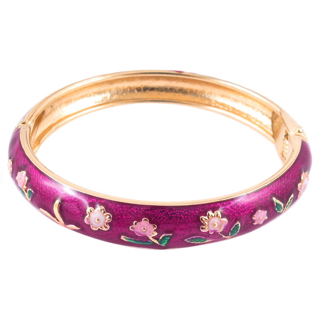 Girls Spring Closure Floral Enamel Round Bracelet Bangle Wrist Decoration Fushcia
