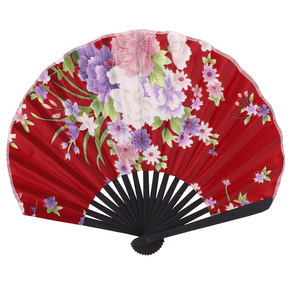 """Bamboo Ribs Floral Printed Holding Hand Fan Party Gift 9"""" Red"""