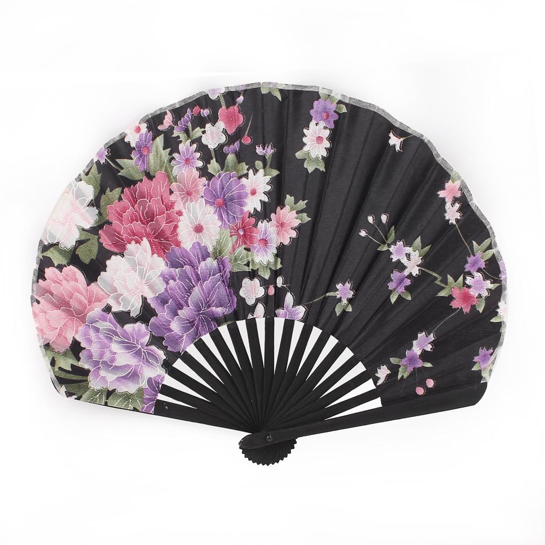 Flowers Print Bamboo Rims Lady Handle Folded Fan Black
