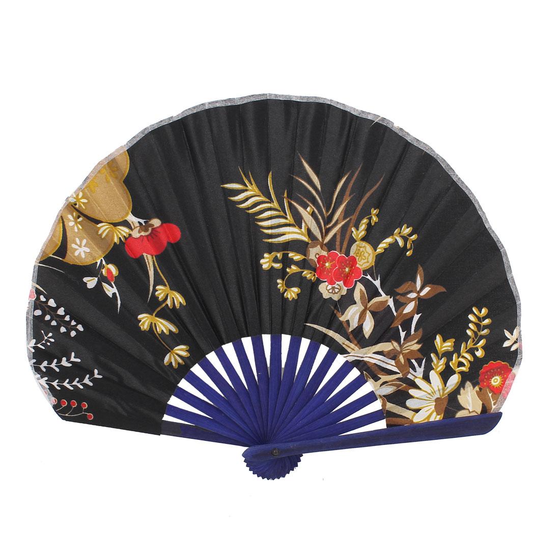 Seashell Style Flower Pattern Wedding Party Folding Hand Fan Black