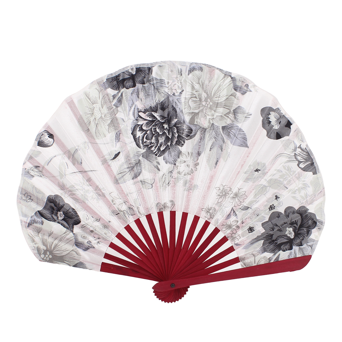 Bamboo Rib Collectible Lady Chinese Style Hand Fan Black White