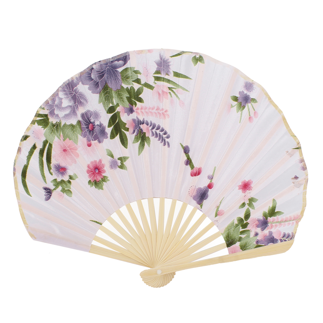 Seashell Shape Floral Pattern Japanese Style Foldable Hand Fan Pale Pink