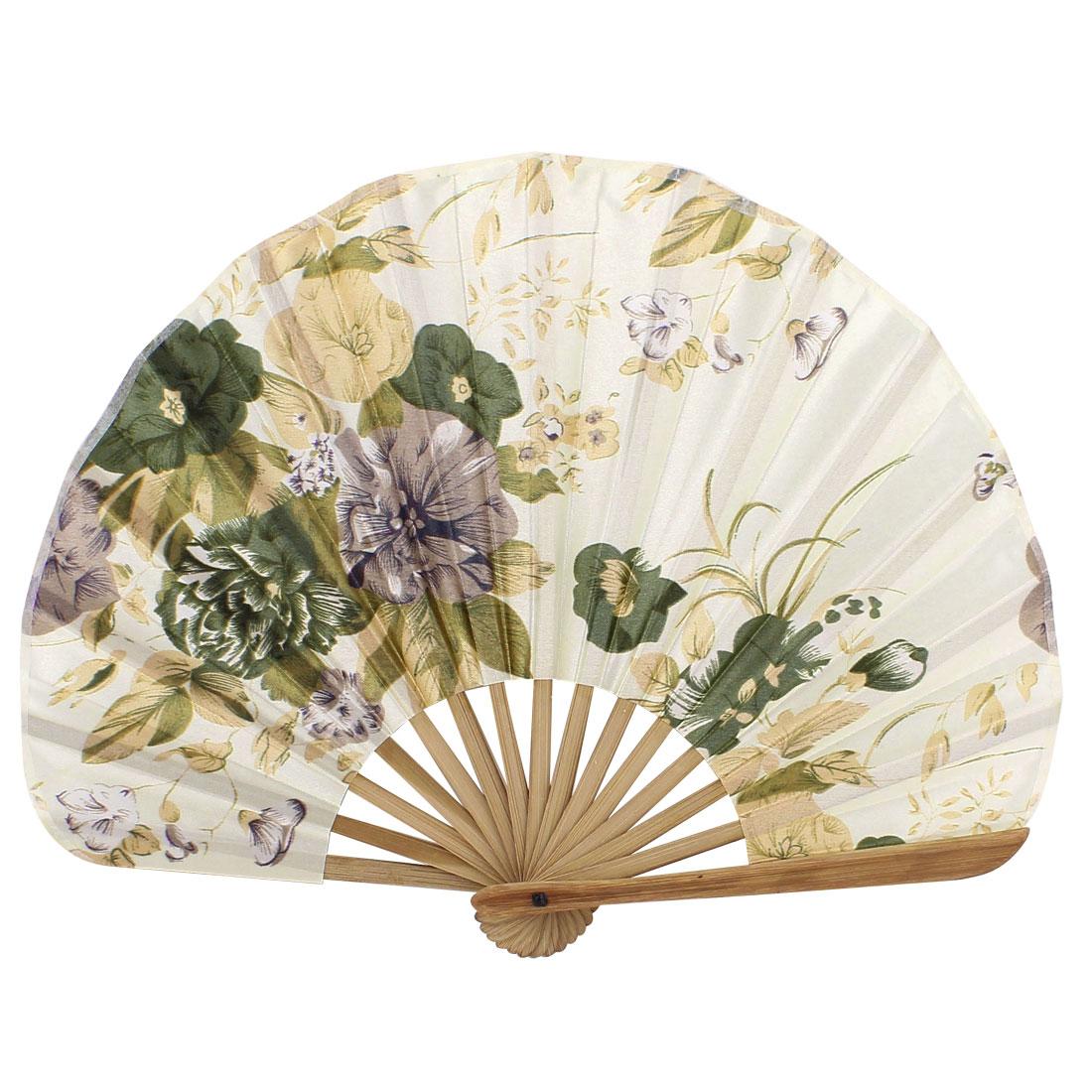 Seashell Design Bamboo Frame Flower Pattern Cool Foldable Hand Fan Beige