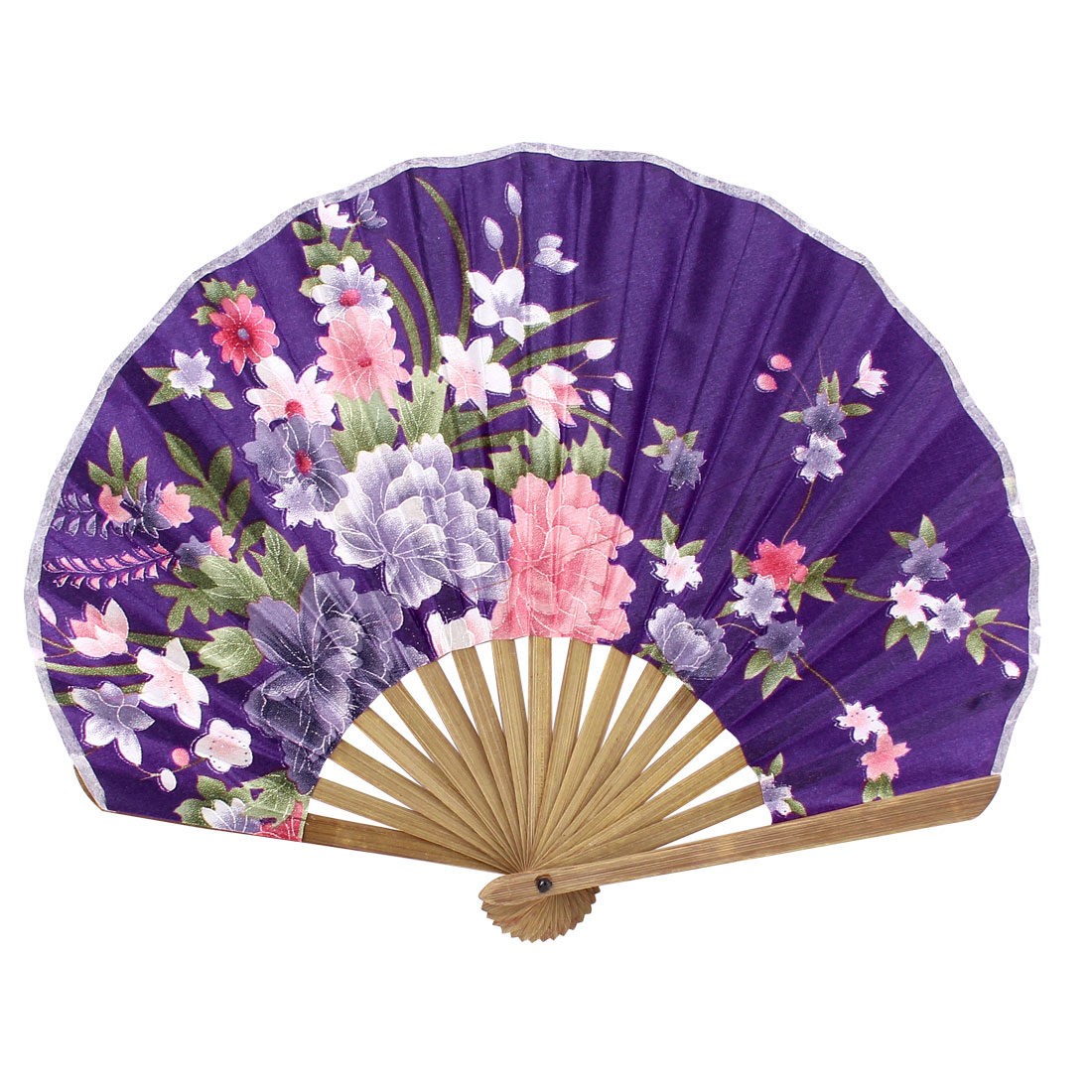 Seashell Design Bamboo Frame Flower Pattern Summer Cool Foldable Hand Fan Purple