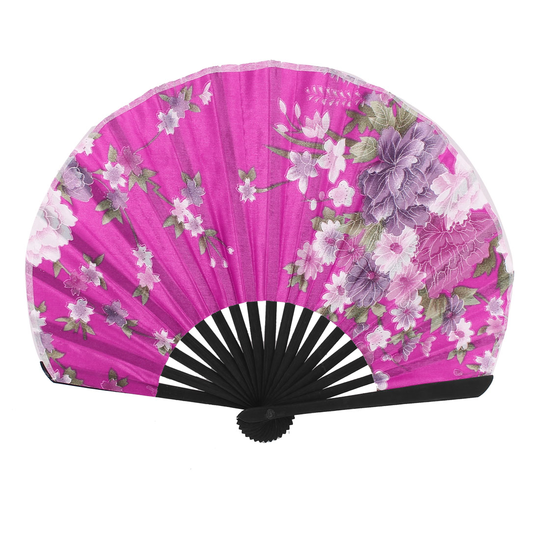 Floral Pattern Lady Chinese Stylish Folding Hand Fan Fushcia