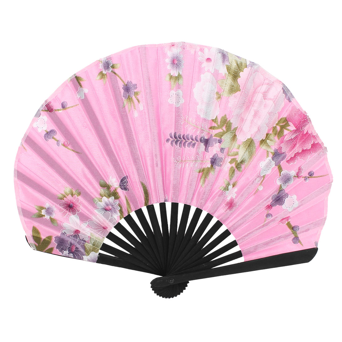 Floral Printing Lady Japanese Stylish Folding Hand Fan Party Gift Pink