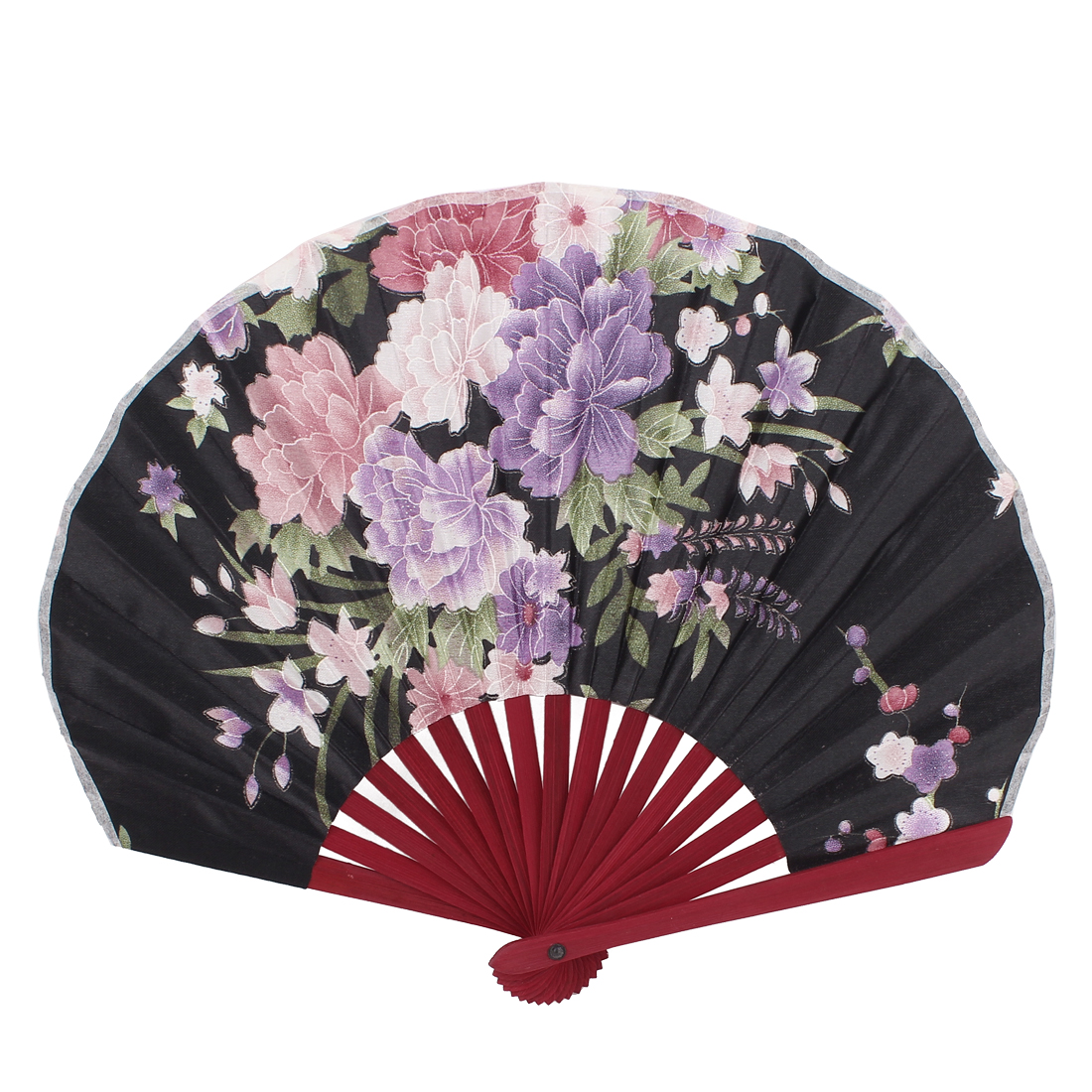 Flowers Printed Chinese Japanese Style Folding Hand Fan Black Purple
