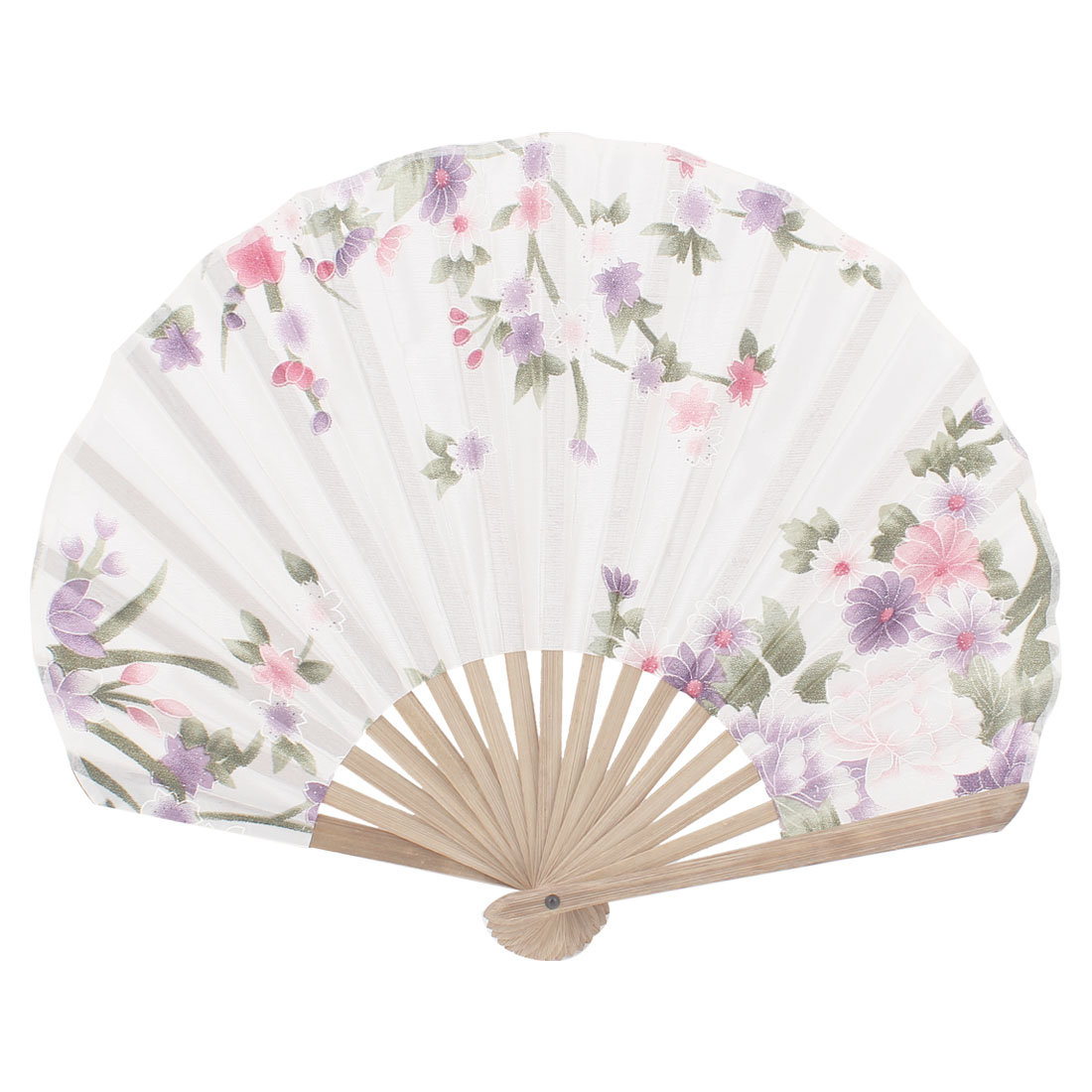 Seashell Design Bamboo Frame Flower Pattern Cool Foldable Hand Fan Off White