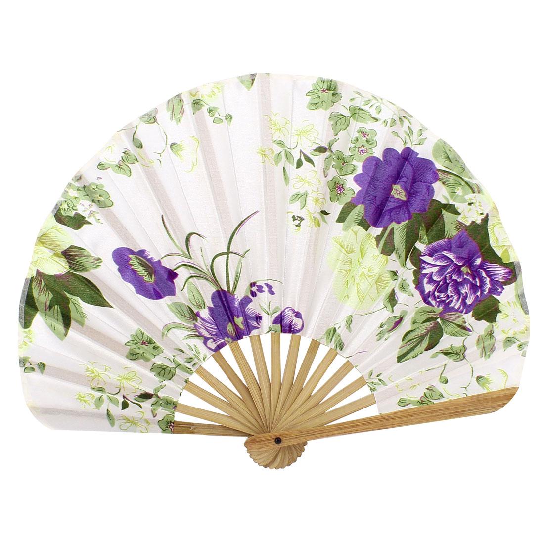 Seashell Style Bamboo Ribs Flower Pattern Foldable Hand Fan White