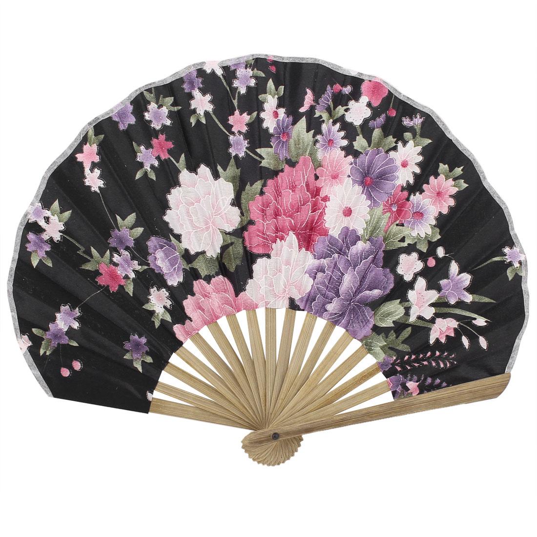 Seashell Design Bamboo Frame Flower Pattern Summer Cool Foldable Hand Fan Black