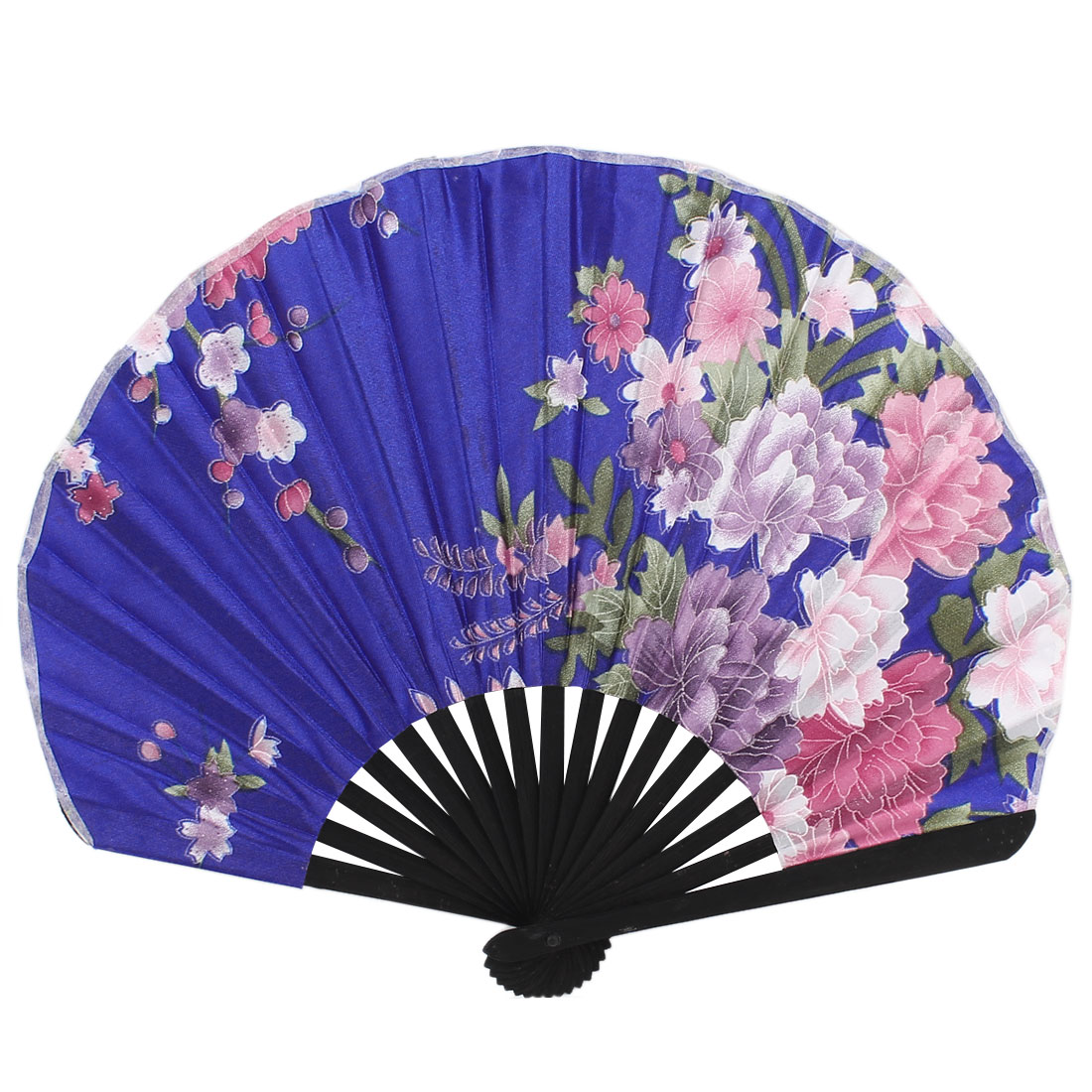Polyester Floral Pattern Party Gift Hand Held Fan Royal Blue