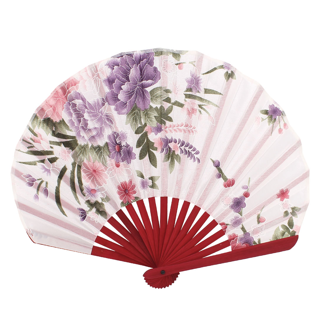 Bamboo Rim Floral Printing Folding Hand Fan White Purple