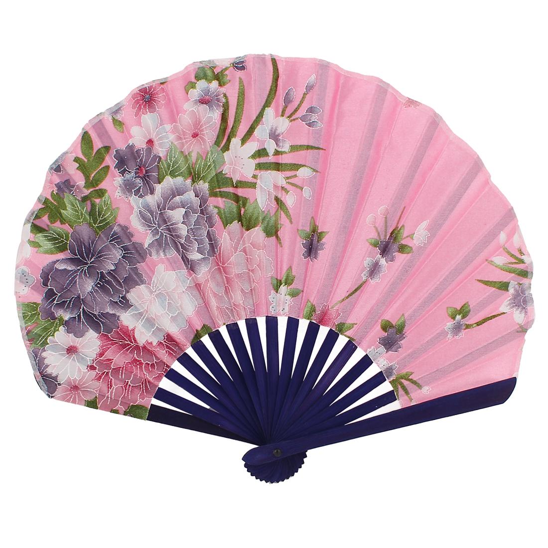 Seashell Shape Flower Pattern Japanese Style Folding Hand Fan Pink