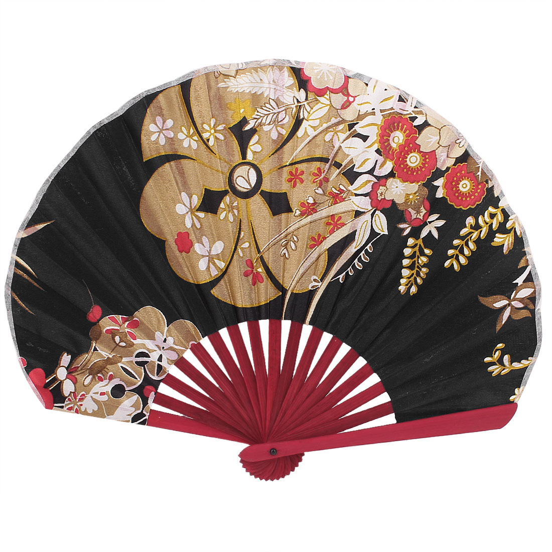 Chinese Style Summer Cool Bamboo Rib Floral Hand Fan Black Gold Tone