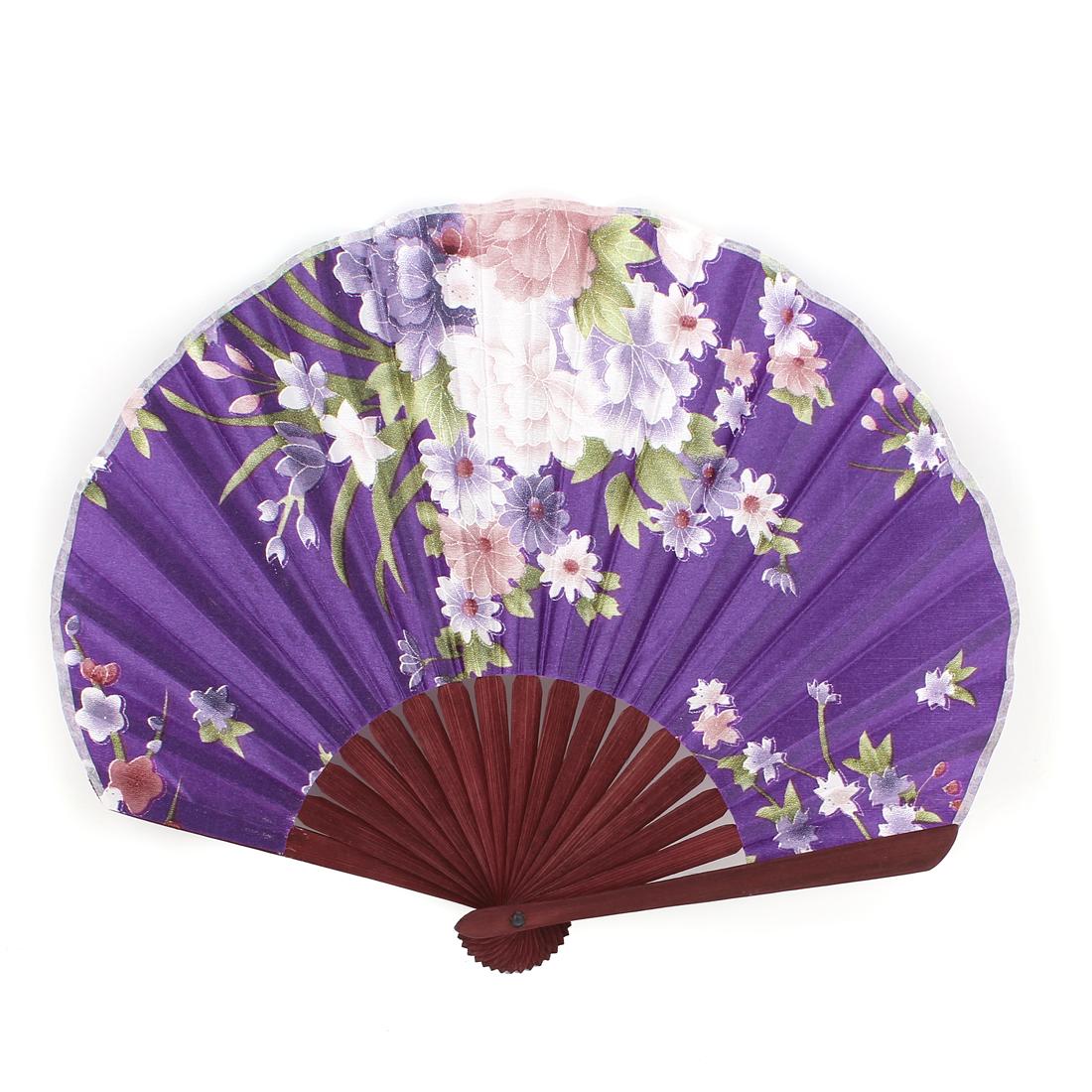 Seashell Shape Flower Print Chinese Style Wedding Party Folding Hand Fan Purple