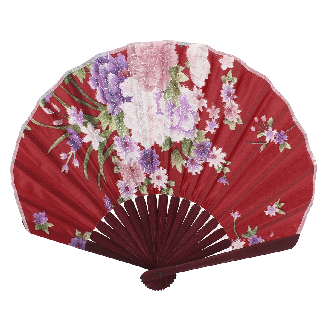 Seashell Shape Flower Print Chinese Style Wedding Party Folding Hand Fan Red
