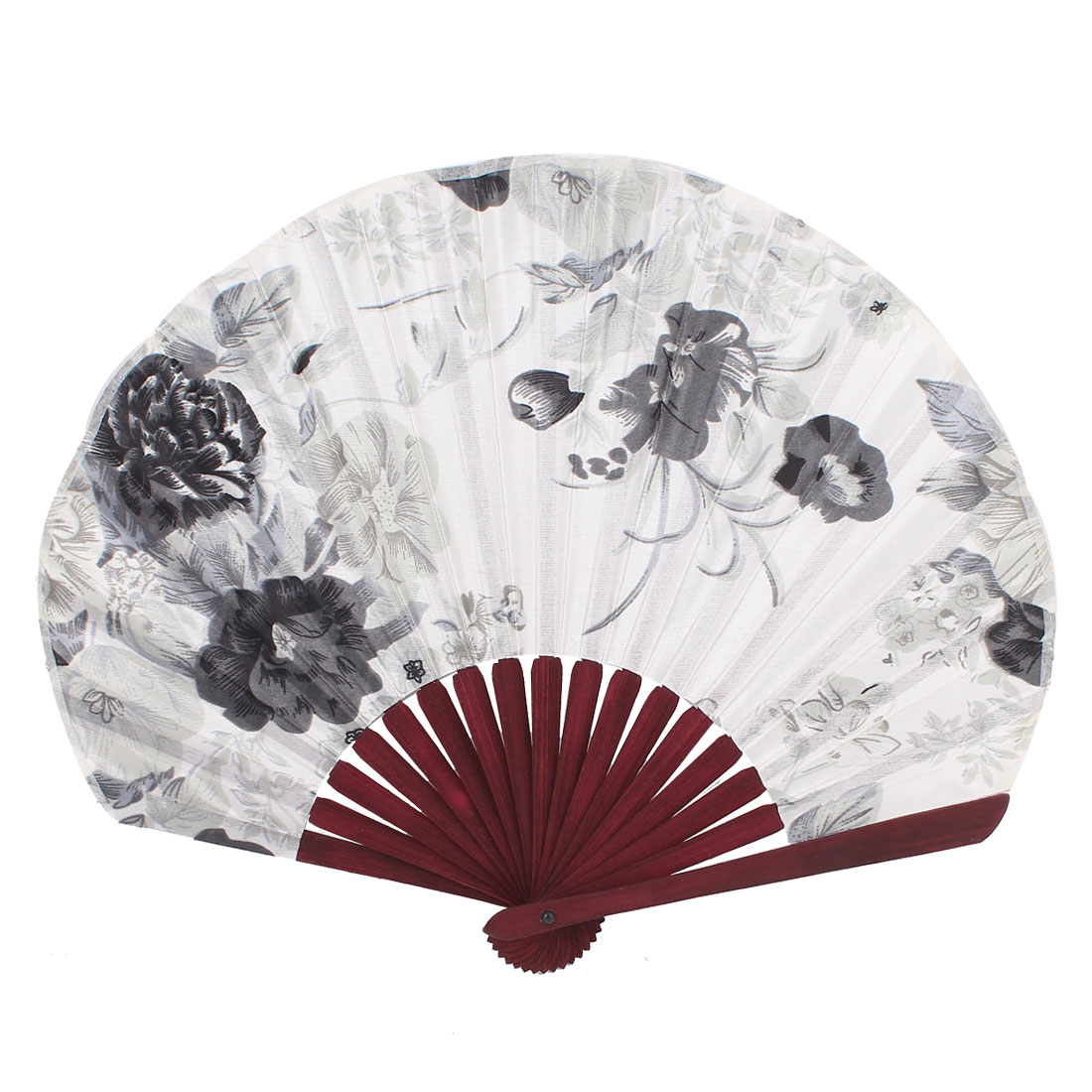 Seashell Shape Flower Print Chinese Style Wedding Party Folding Hand Fan White