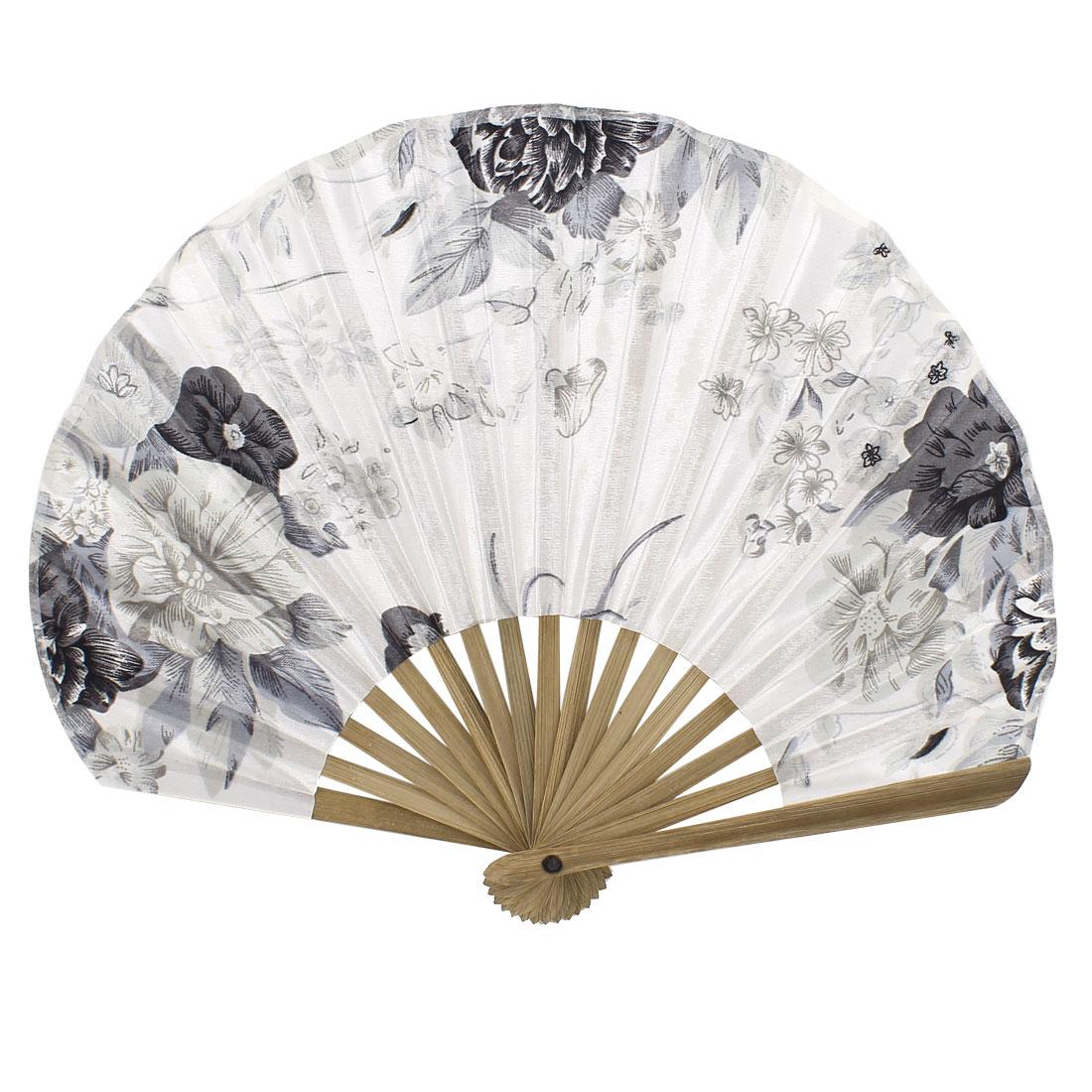Seashell Design Bamboo Frame Flower Pattern Summer Foldable Hand Fan Light Gray