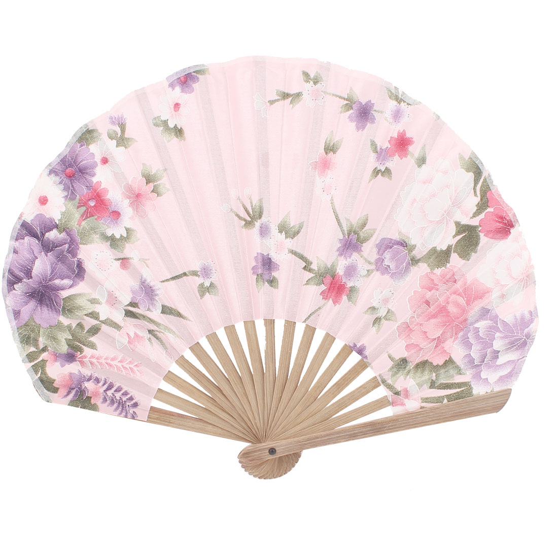 Seashell Design Bamboo Frame Flower Pattern Summer Cool Foldable Hand Fan Pink