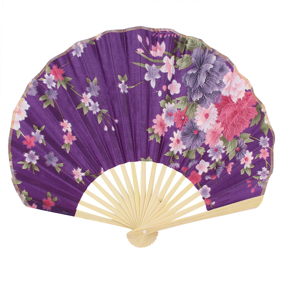 Seashell Design Floral Printed Japanese Style Foldable Hand Fan Purple
